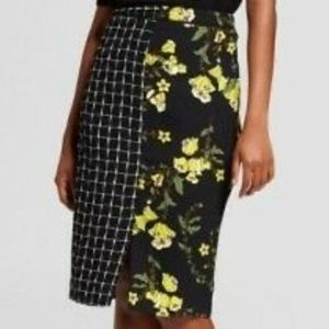 Who What Wear Women's Print Mix Media Pencil Skirt